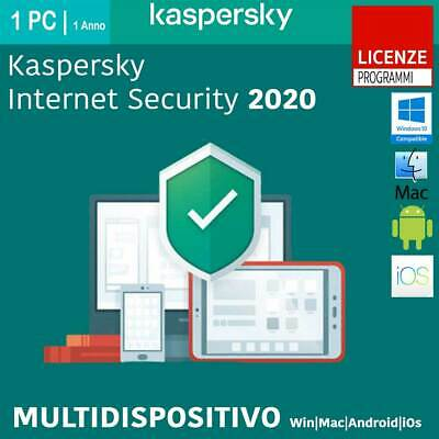Kaspersky Internet Security 2020 1-2-3-5-10 Win Mac Android 1 Anno o 2 Anni ESD