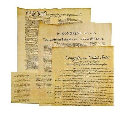4 Historical Documents Bill of Rights, Constitution, Gettysburg, Declaration