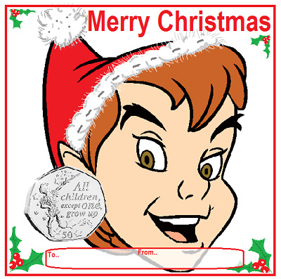 50p peter pan 2019 IOM Christmas display card.not on the High st (SELLING FAST)