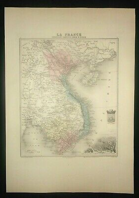 carte Cochinchine Cambodge Annan Tonkin 1890 - gravure couleur  Atlas Vuillemin