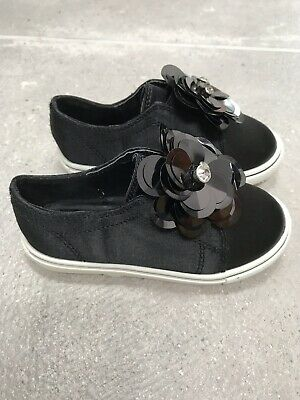 Girls Black Satin Sequin Trainers Size 4 River Island EUR 20.5