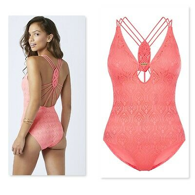 NEW LADIES MONSOON ACCESSORIZE SWIMSUIT 14, Coral Crochet
