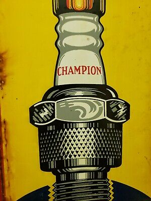 champion spark plug service porcelain sign gas and oil vintage dealership