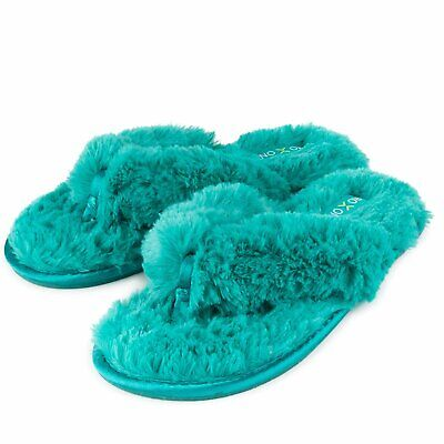Roxoni Fuzzy House Slippers for Women – Comfortable Furry Spa Thongs – Cozy...