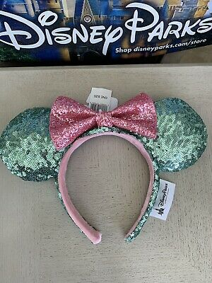 Disney Parks Mint Green Pink Glitter Bow Minnie Mouse Sequin Ears Headband , NEW