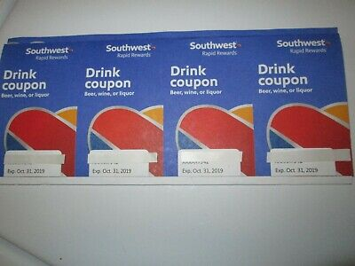 Southwest Airlines Drink Coupons (4) Expire October 2019