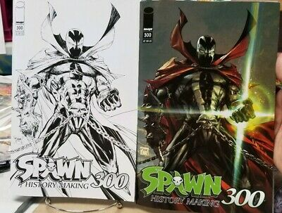 SPAWN 300 COVER A 1st PRINT MAIN COVER & BLACK & WHITE VARIANT NM TODD McFARLANE
