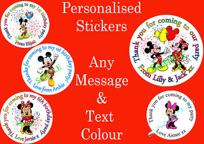 Personalised Minnie & Mickey mouse inspired stickers party bag sweet cone Label