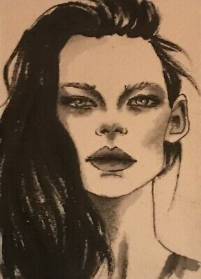 Original ACEO painting by watercolor and charcoal girl face portrait by V. Scala
