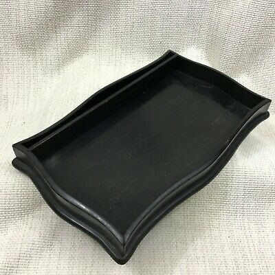 Antique Wooden Tray Ebony Wood Victorian Desk Tidy Decorative Stand 19th Century