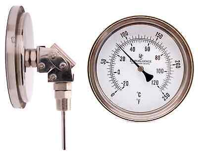 "Adjustable Bimetal Thermometer 5"" Face x 2-1/2"" Stem, 0-250F w/Calibration Dial"