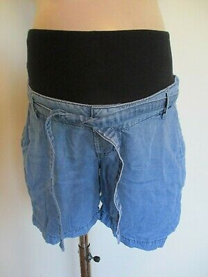 H&M Mama Maternity Blue Denim Effect Under Bump Shorts Size 12
