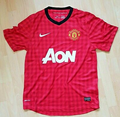 Manchester United Small Home Shirt Jersey 2012-2013 Checked Red Nike AON Man Utd
