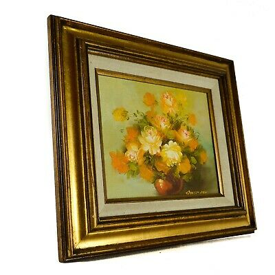 Robert Cox Signed Oil Painting of Vase Flowers Yellow Green Roses Rose Floral