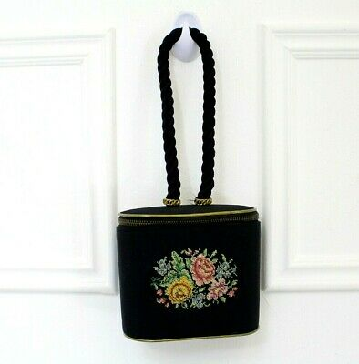 Antique Vtg Silk German Hand Needlework Floral Peakey Blinders Box Clutch Bag