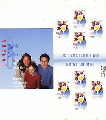"""Canada, 2002, """"International Youth Day- 48C"""" Booklet Of 8 Stamps Mint Nh Fresh"""