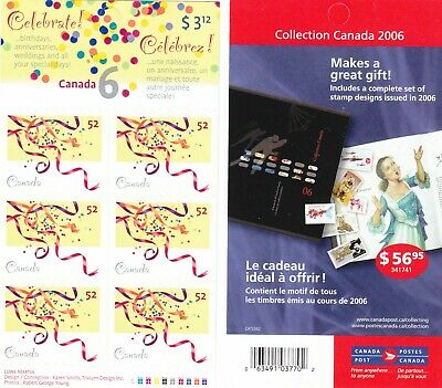"""Canada, 2006, """"Celebrate Stamps - 52C"""" Booklet Of 6 Stamps Mint Nh Fresh"""