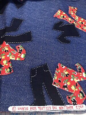 Vintage 70s Denim Novelty Print Fabric. Marcus Bros Textiles 2-1/8 yards