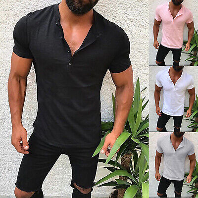 Mens Short Sleeve Plain T-Shirt Slim Buttons V Neck Casual Blouse Tee Muscle Top