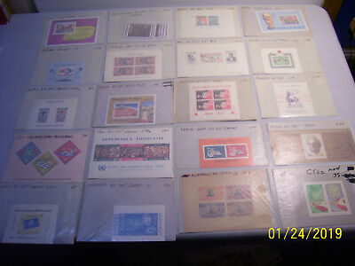 Mixed Lot of Unchecked Mint and Used Worldwide Souvenir Sheets in Glassines