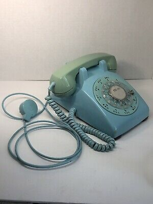 Vintage Aqua Turquoise Blue Western Electric Bell System Rotary Desk Telephone