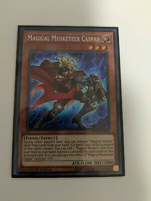 1x Yu-Gi-Oh Magical Musketeer Caspar - SPWA-EN016 - Secret Rare - 1st Edition NM