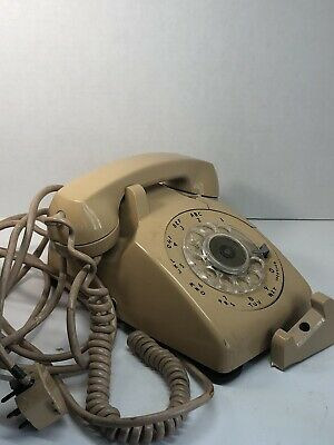 Vintage Bell System Rotary Telephone Western Electric Tan Broken For Parts Only