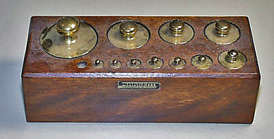 Antique Sargents Cherry Wood Block Apothecary Gram Solid Brass Weight Set