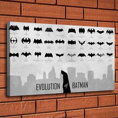 "Evolution of Batman Logo Painting HD Print on Canvas Home Decor Wall Art 16""x28"""