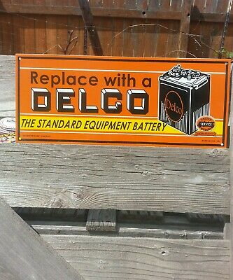 Vintage 1948 Delco Battery Porcelain Sign Gas Oil Veribrite Nos Double Sided