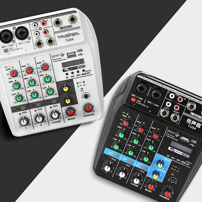 4 Channel USB white Audio Mixer Mixing Console with Bluetooth 48V Phantom Power