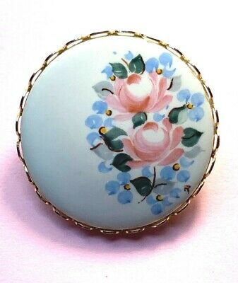 """VTG Unsigned brooch Ceramic pink blue flowers 1.25"""" ?hand painted"""