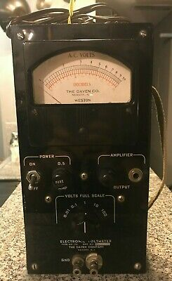 Vintage Electronic Voltmeter Type No. 170 Daven Co. Weston - Untested, Lights Up