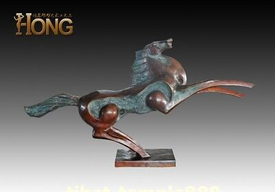226 cm Western art deco pure bronze Flying fine horse steed abstract sculpture