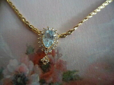 Vintage Jewellery Gold Chain Necklace with Aquamarine White Sapphires Pendant