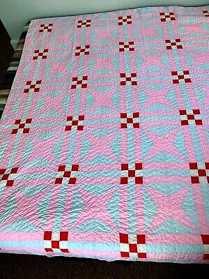 "Vintage Hand Made QUILT Four 4 Pointed Star PINK BLUE WHITE RED 72"" x 86"" Old"