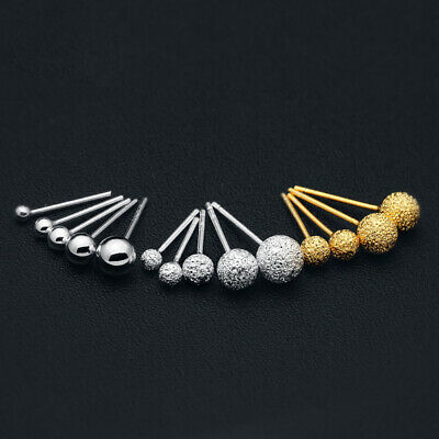 Classic 1 Pair REAL Sterling Silver .925 Polished Round Ball Bead Earring Stud