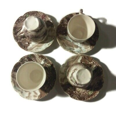 Set 4 Cups / Saucers Johnson Brothers China Olde English Countryside Coffee Tea