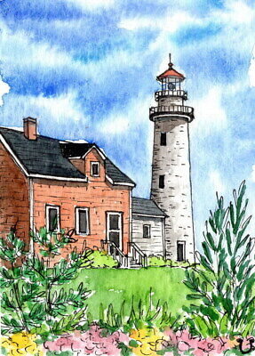 ACEO Original Watercolor&Ink Colorful Spring Lighthouse/Line and Wash ATC
