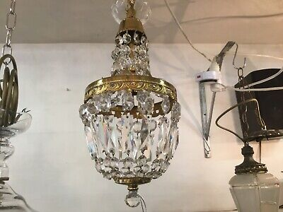 Original Italian Vintage Basket French Empire Dome Small Crystal Chandelier