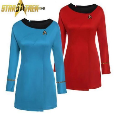 AU Original Star Trek Uniform Serie Cosplay Women' Costume Red&Blue Fancy Dress