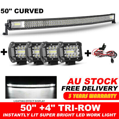 "50inch Cree Curved LED Light Bar Spot Flood Driving Offroad +4x 4"" Pods +Wire"