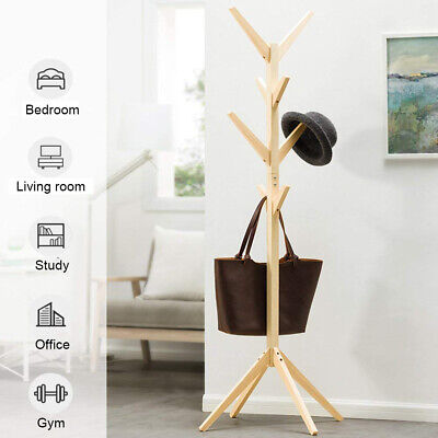 Wooden Coat Rack Clothes Stand Hanger Hat Tree Vintage Jacket Bag Umbrella AU