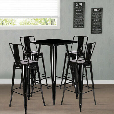 Dining Table Tall Breakfast Bar Stools Retro Rustic Industrial Cafe Kitchen Set