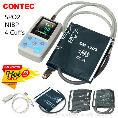Ambulatory Blood Pressure Patient Monitor NIBP SPO2 Pulse Oximeter+4 Cuffs+PC SW