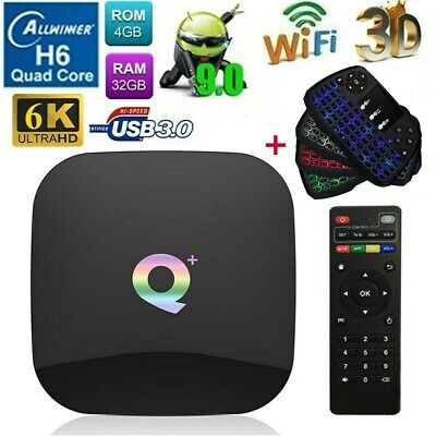Q Plus Smart TV Box Android9.0 Allwinner H6 4Core 4G+32GB 6K WiFi +Tastiera T2F6