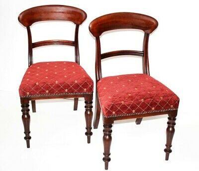 Pair of Antique Sheraton Style Mahogany Bar Back Dining Chairs [5497]