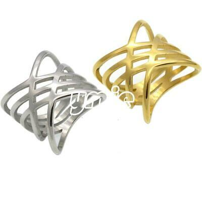 Women Silver Gold Color Stainless Steel Hollow Ring Lady Wedding Jewelry Charm