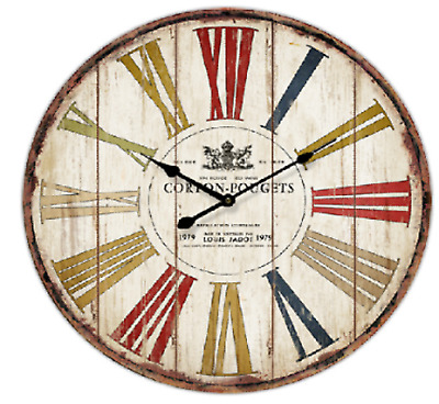 "Extra, Extra Large Retro Shabby Chic Wall Clock. 58cm Diameter (22"" +) 7078"