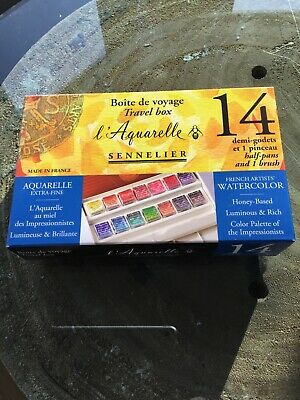 Sennelier French Watercolor Paint TRAVEL Set 14 Half Pans - Brush + Notecards
